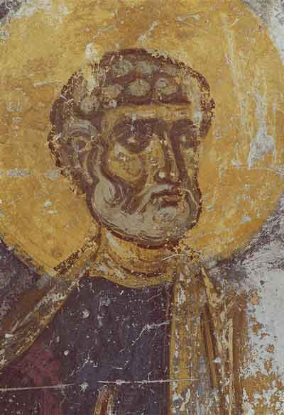 Апостол Петр. Фрагмент Деисусного чина в Мартириевской паперти. Фреска. Около 1144 года