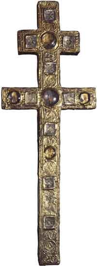 Крест воздвизальный. Серебро, золочение, басманное тиснение, чеканка. XII, конец XIV века