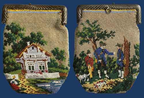 Кошелек с изображением охотников и пейзажа.  Вязание крючком из мелкого...
