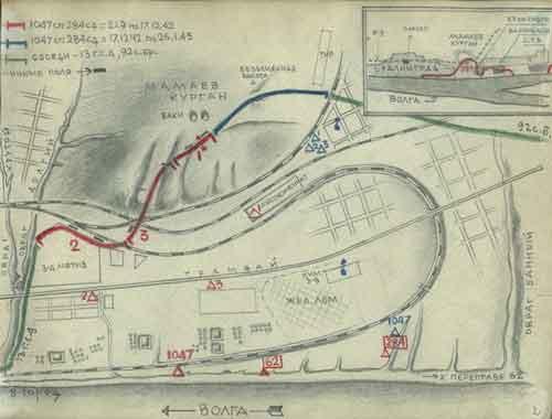 Карта-схема Мамаева кургана.
