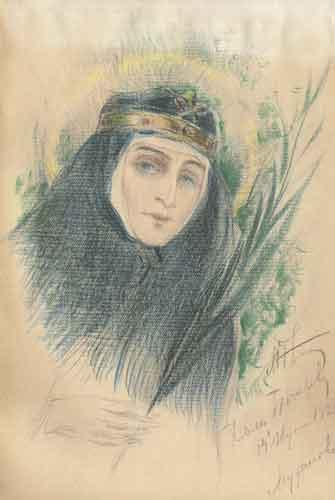 М.В.Нестеров. Великая княгиня Елизавета Федоровна. 1926. Бумага, цветные карандаши. Частное собрание